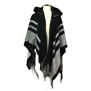 Black and Gray Hooded Open Front Cape